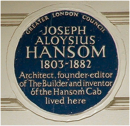Hansom blue plaque